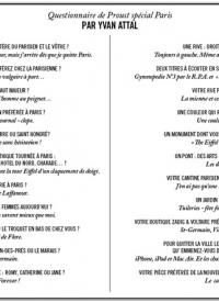 Questionnaire de Proust spécial Paris - par Yvan Attal - 04.09.15